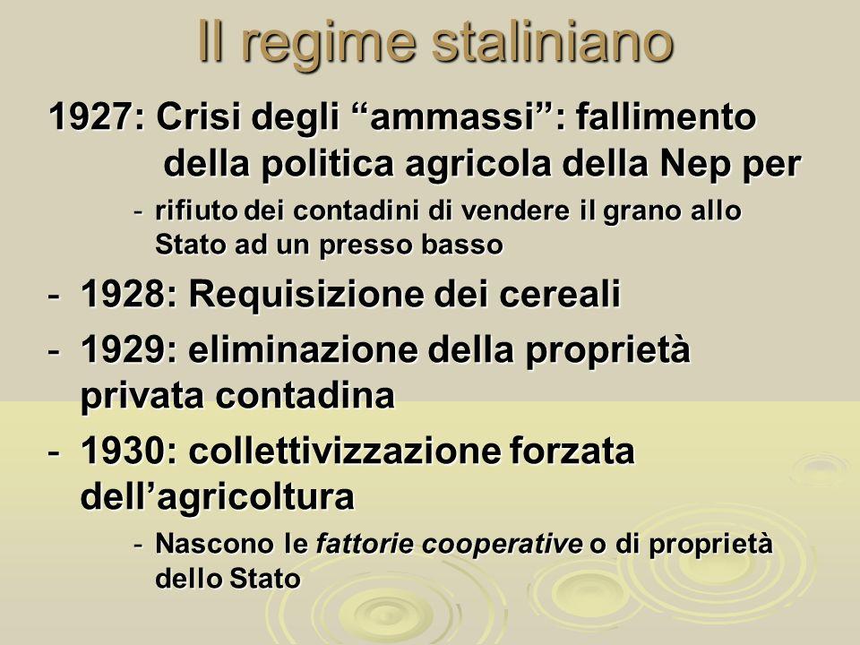 Il regime staliniano1927: Crisi degli ammassi : fallimento della politica agricola della Nep per.