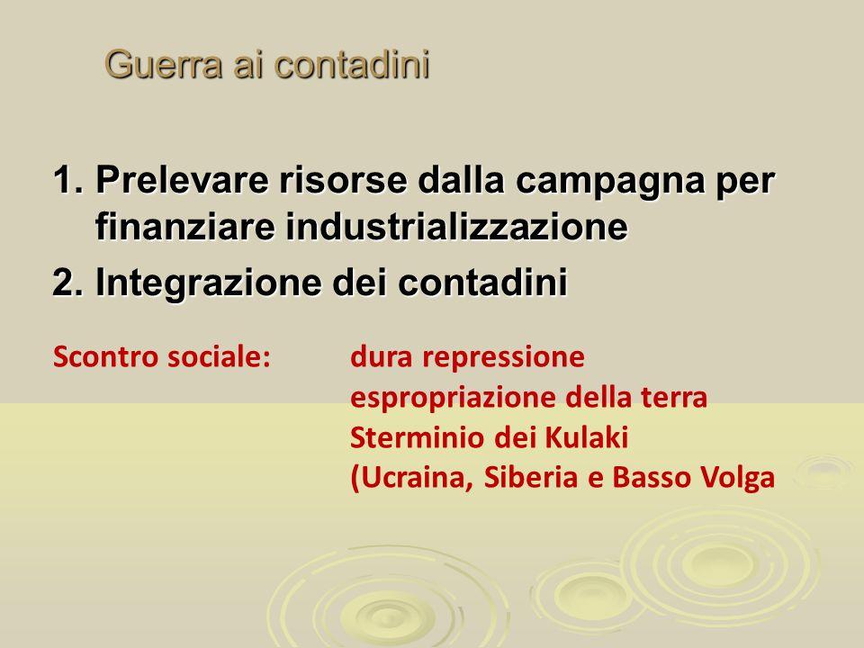 Prelevare risorse dalla campagna per finanziare industrializzazione