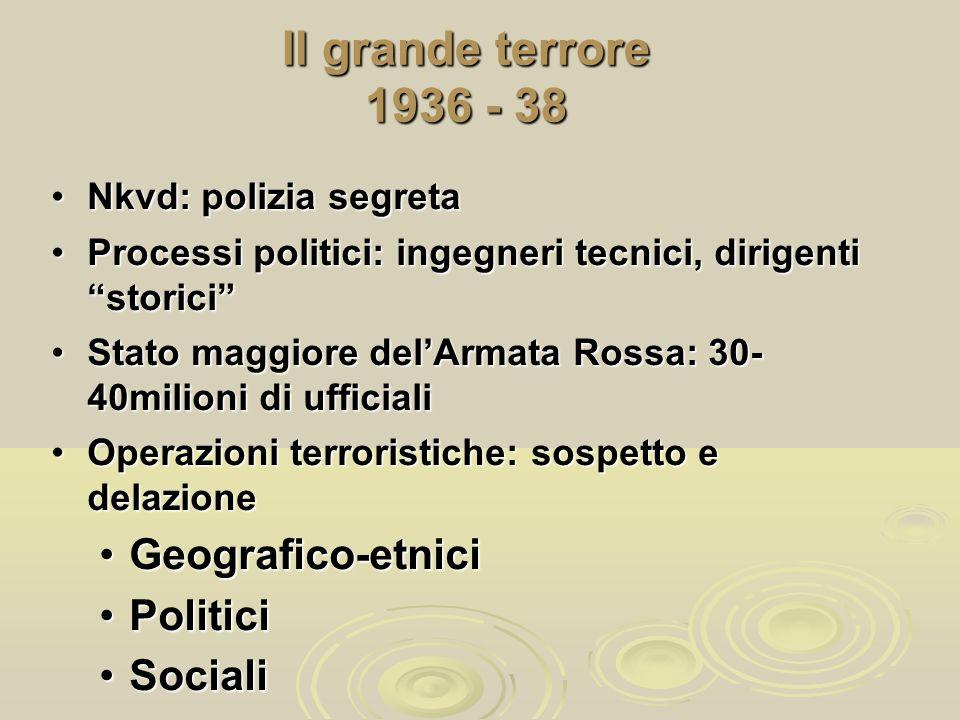 Il grande terrore 1936 - 38 Geografico-etnici Politici Sociali