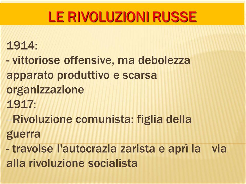 LE RIVOLUZIONI RUSSE 1914: - vittoriose offensive, ma debolezza apparato produttivo e scarsa organizzazione.