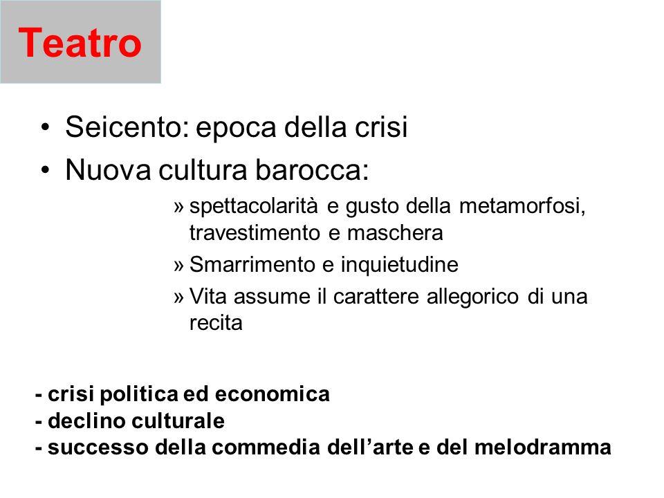 Teatro Seicento: epoca della crisi Nuova cultura barocca: