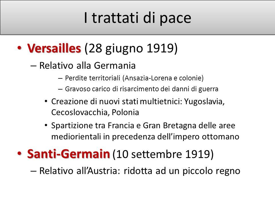 I trattati di pace Versailles (28 giugno 1919)