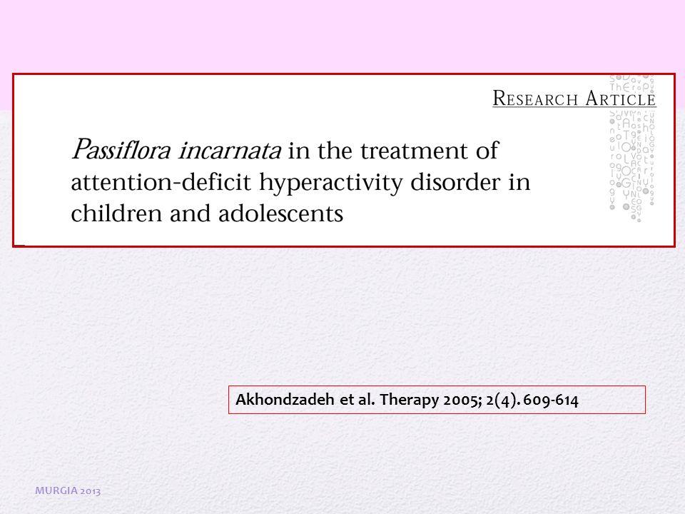Akhondzadeh et al. Therapy 2005; 2(4). 609-614