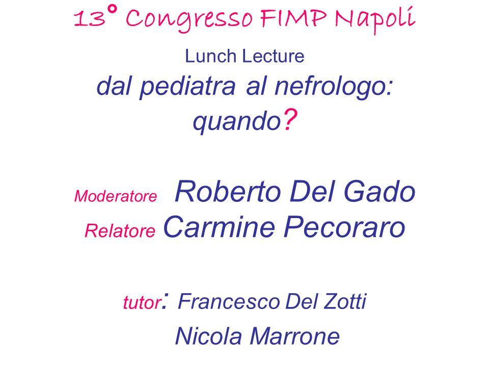 13° Congresso FIMP Napoli Lunch Lecture dal pediatra al nefrologo: quando.
