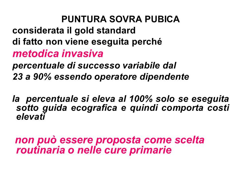 PUNTURA SOVRA PUBICA considerata il gold standard. di fatto non viene eseguita perché. metodica invasiva.