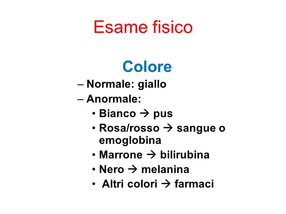 Esame fisico Colore Normale: giallo Anormale: Bianco  pus