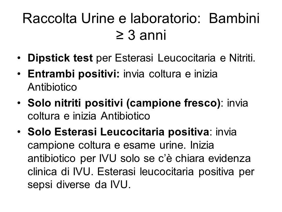Raccolta Urine e laboratorio: Bambini ≥ 3 anni