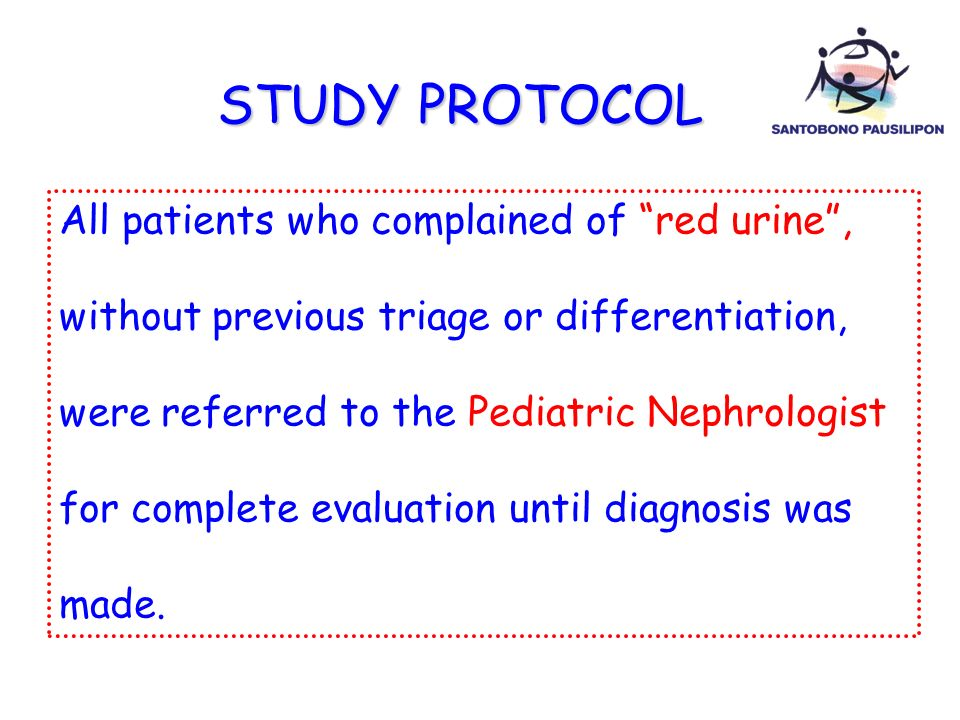 STUDY PROTOCOL All patients who complained of red urine ,