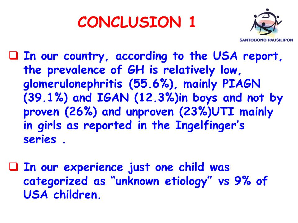 CONCLUSION 1 In our country, according to the USA report,