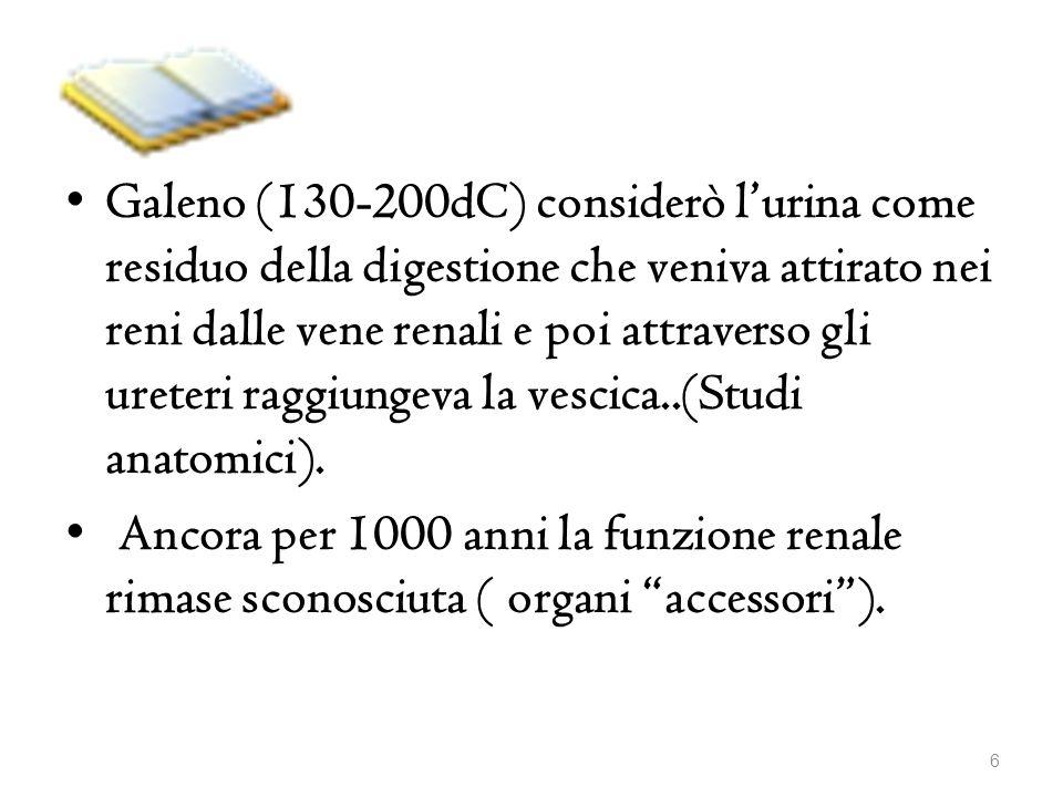 Galeno (130-200dC) considerò l'urina come residuo della digestione che veniva attirato nei reni dalle vene renali e poi attraverso gli ureteri raggiungeva la vescica..(Studi anatomici).