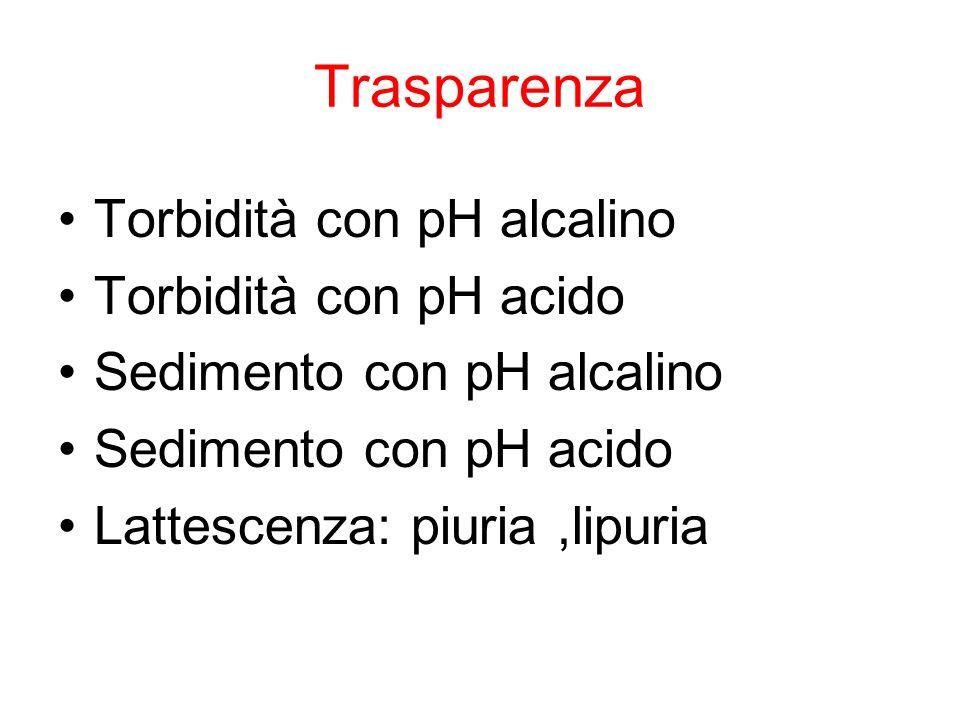 Trasparenza Torbidità con pH alcalino Torbidità con pH acido