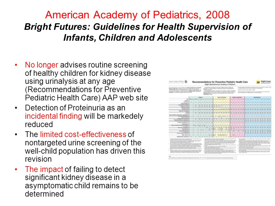 American Academy of Pediatrics, 2008 Bright Futures: Guidelines for Health Supervision of Infants, Children and Adolescents