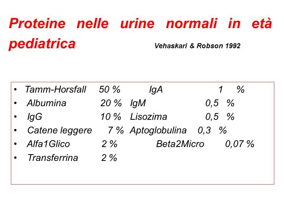 Proteine nelle urine normali in età pediatrica Vehaskari & Robson 1992