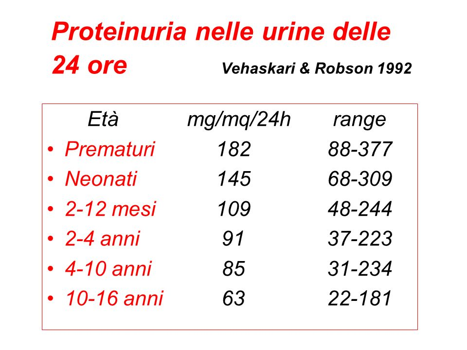 Proteinuria nelle urine delle 24 ore Vehaskari & Robson 1992