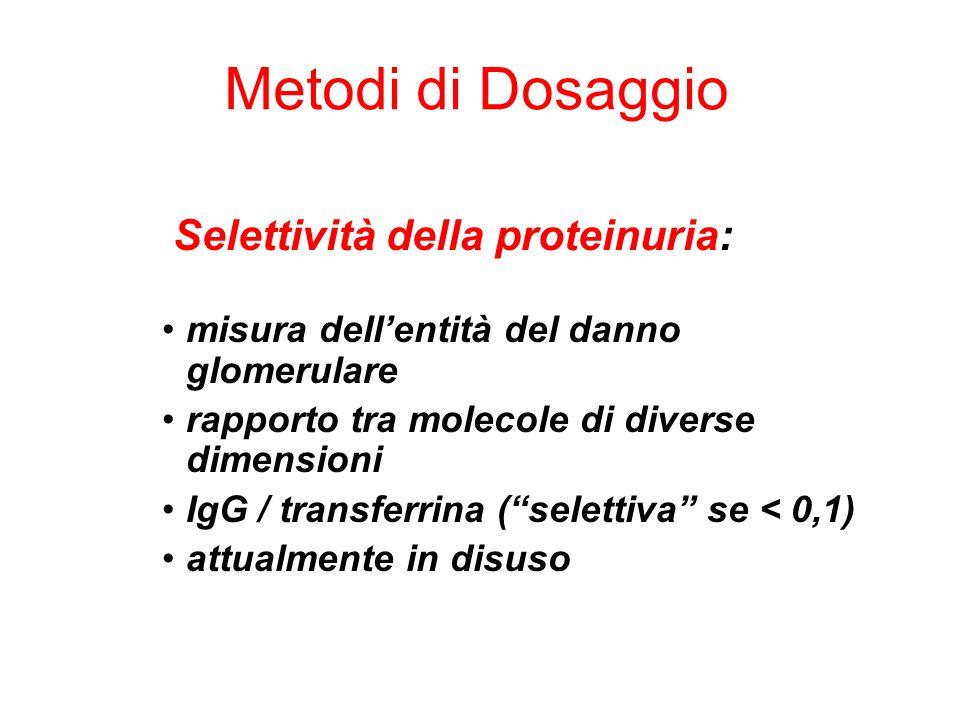 Metodi di Dosaggio Selettività della proteinuria: