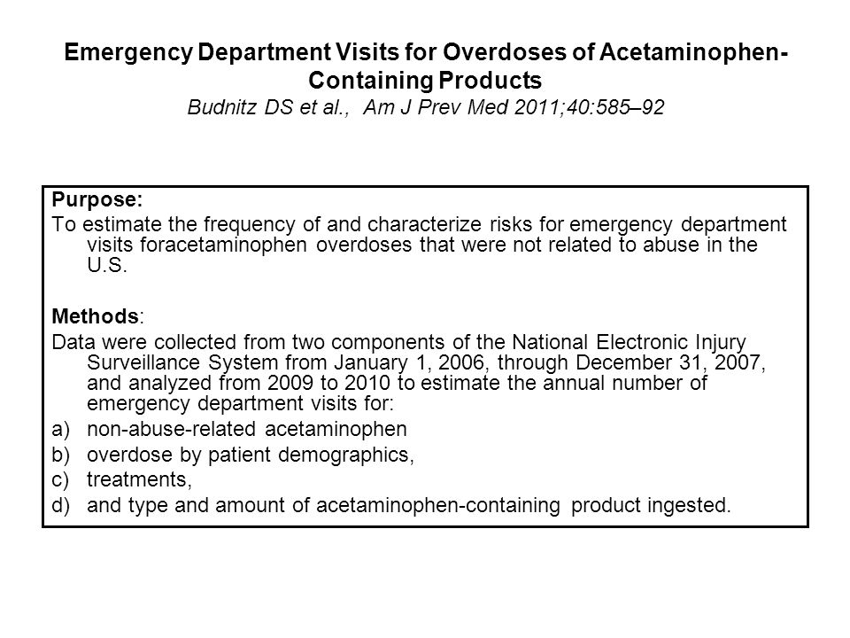 Emergency Department Visits for Overdoses of Acetaminophen-Containing Products Budnitz DS et al., Am J Prev Med 2011;40:585–92