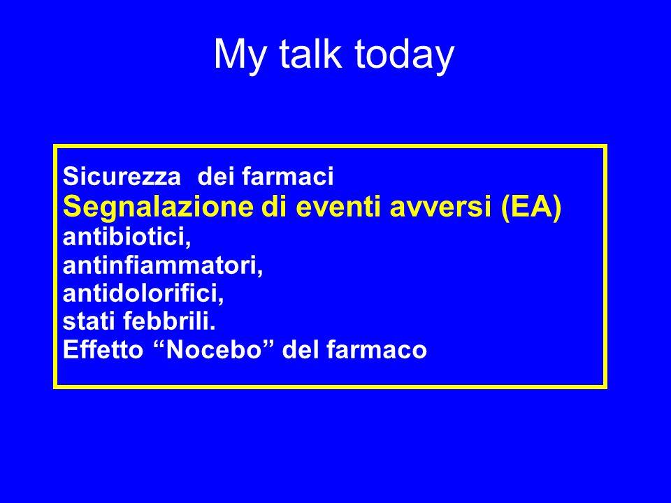 My talk today Segnalazione di eventi avversi (EA) antibiotici,