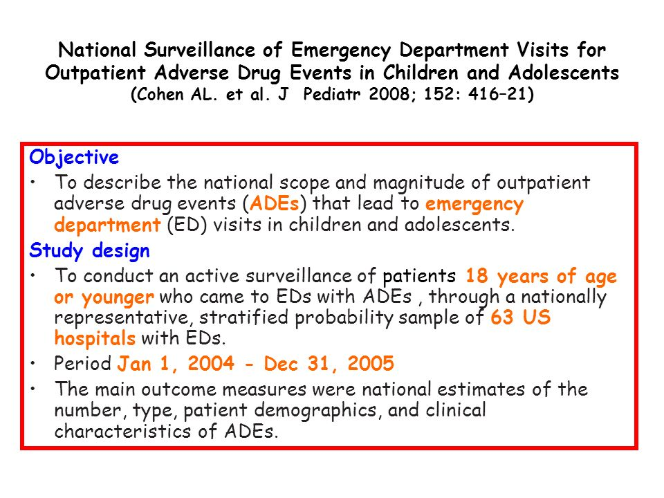 National Surveillance of Emergency Department Visits for Outpatient Adverse Drug Events in Children and Adolescents (Cohen AL. et al. J Pediatr 2008; 152: 416–21)