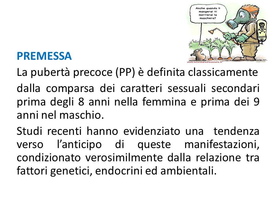 PREMESSA La pubertà precoce (PP) è definita classicamente dalla comparsa dei caratteri sessuali secondari prima degli 8 anni nella femmina e prima dei 9 anni nel maschio.
