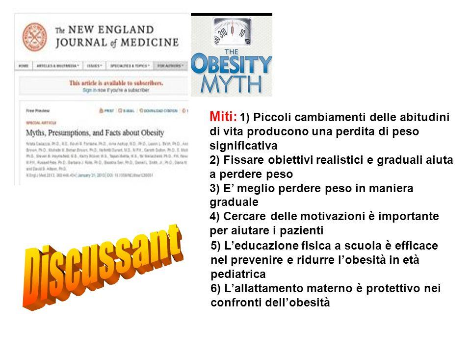 Miti: 1) Piccoli cambiamenti delle abitudini di vita producono una perdita di peso significativa