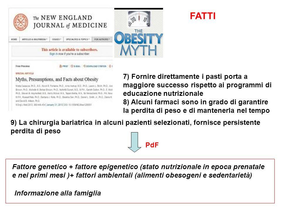 FATTI 7) Fornire direttamente i pasti porta a maggiore successo rispetto ai programmi di educazione nutrizionale.