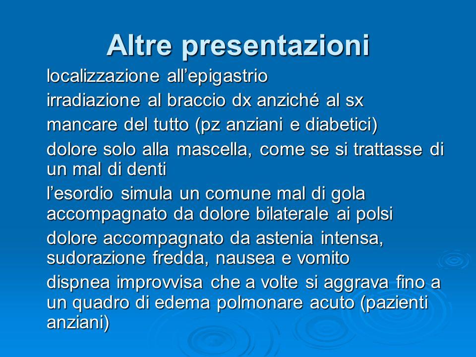 Altre presentazioni localizzazione all'epigastrio