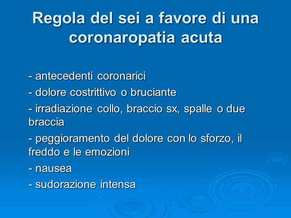 Regola del sei a favore di una coronaropatia acuta