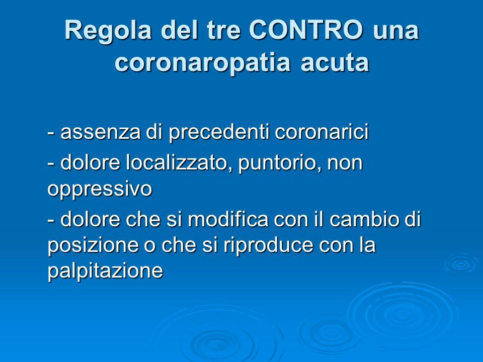 Regola del tre CONTRO una coronaropatia acuta