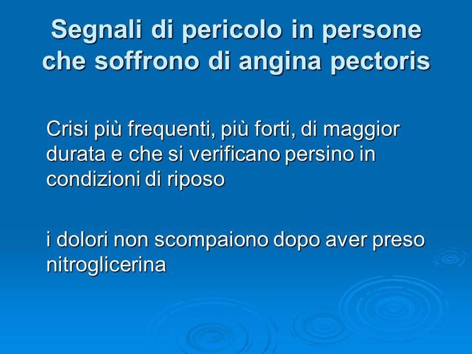 Segnali di pericolo in persone che soffrono di angina pectoris