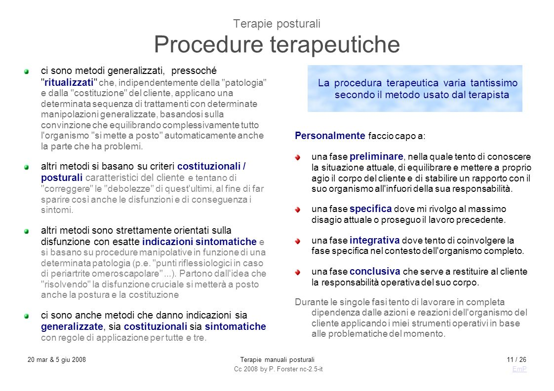 Terapie posturali Procedure terapeutiche