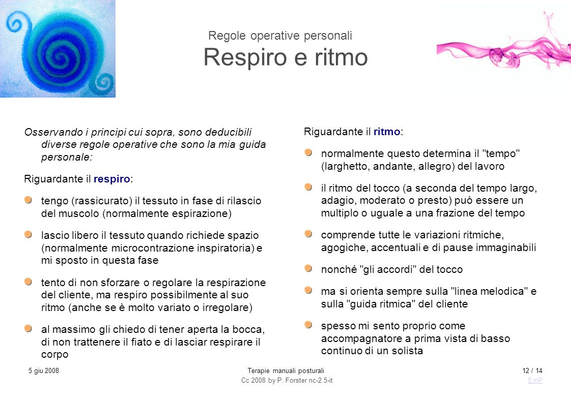 Regole operative personali Respiro e ritmo