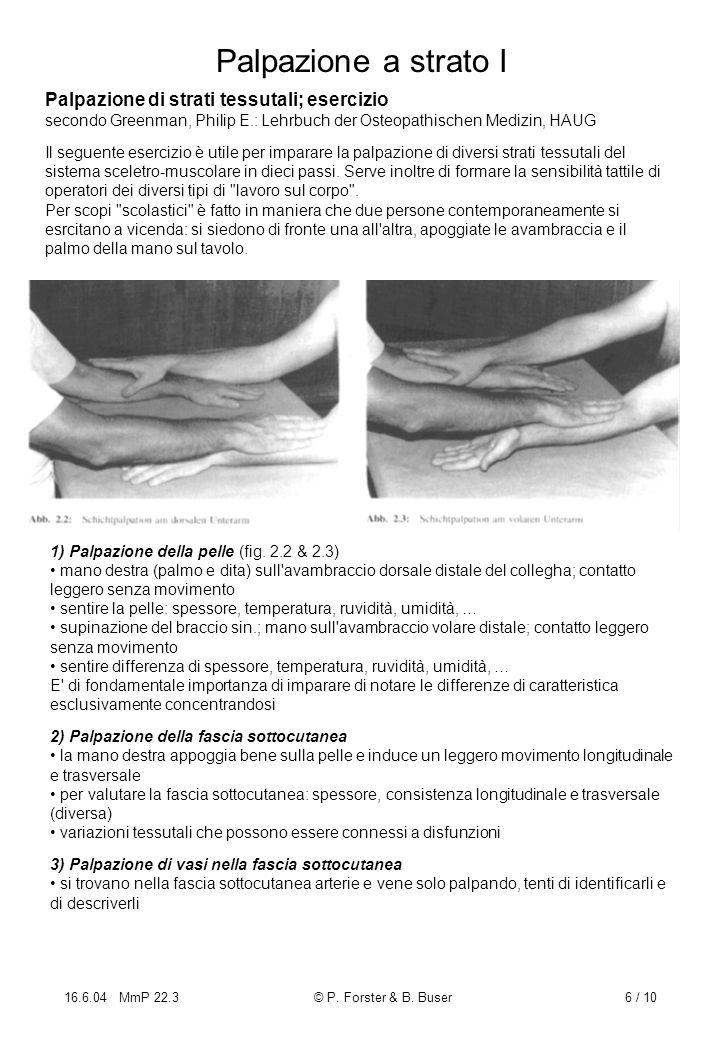 Palpazione a strato I Palpazione di strati tessutali; esercizio