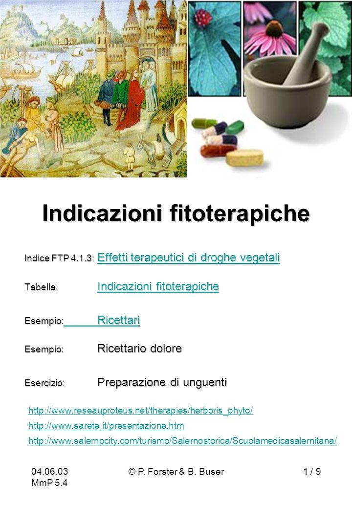 Indicazioni fitoterapiche