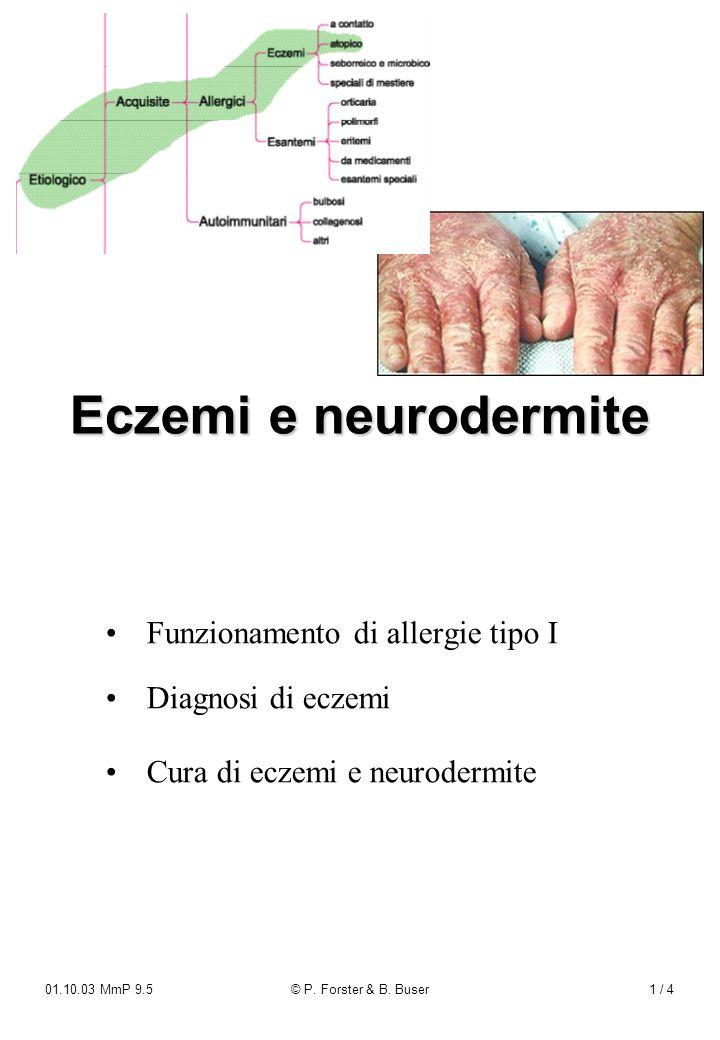 Eczemi e neurodermite • Funzionamento di allergie tipo I • Diagnosi di eczemi. • Cura di eczemi e neurodermite.