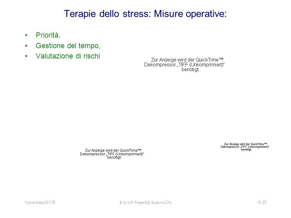 Terapie dello stress: Misure operative: