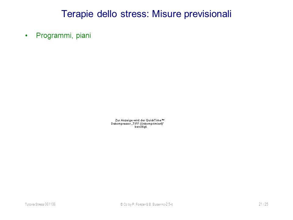 Terapie dello stress: Misure previsionali