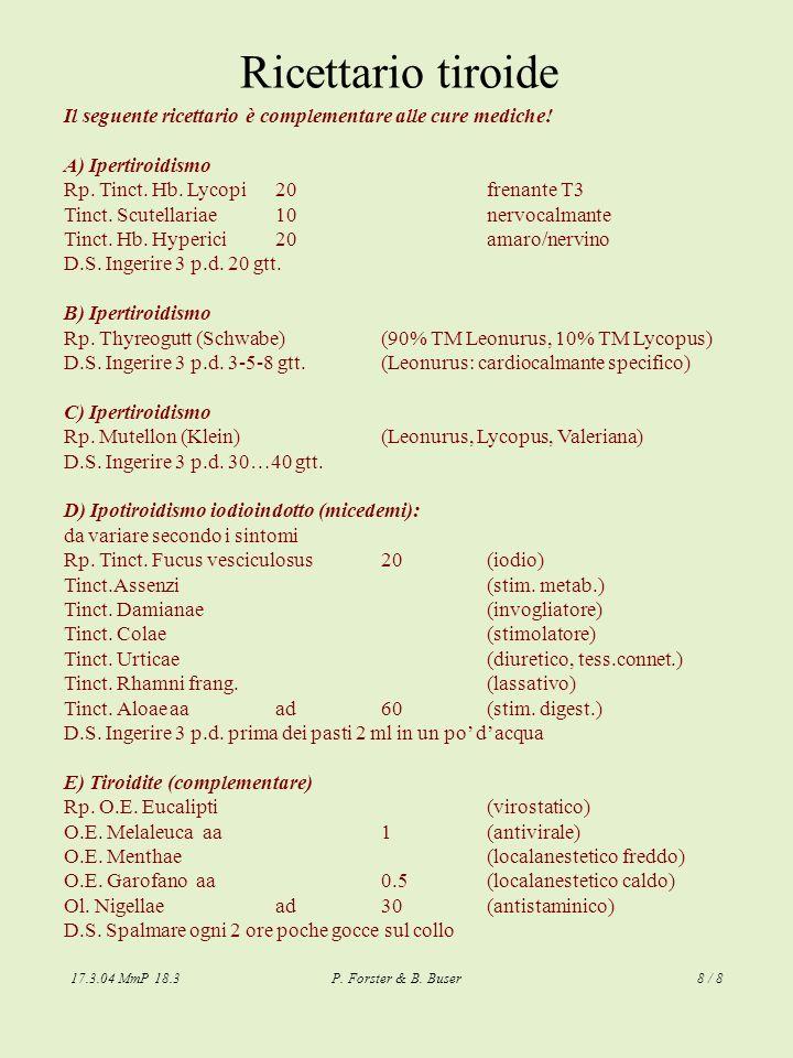 Ricettario tiroide Il seguente ricettario è complementare alle cure mediche! A) Ipertiroidismo. Rp. Tinct. Hb. Lycopi 20 frenante T3.
