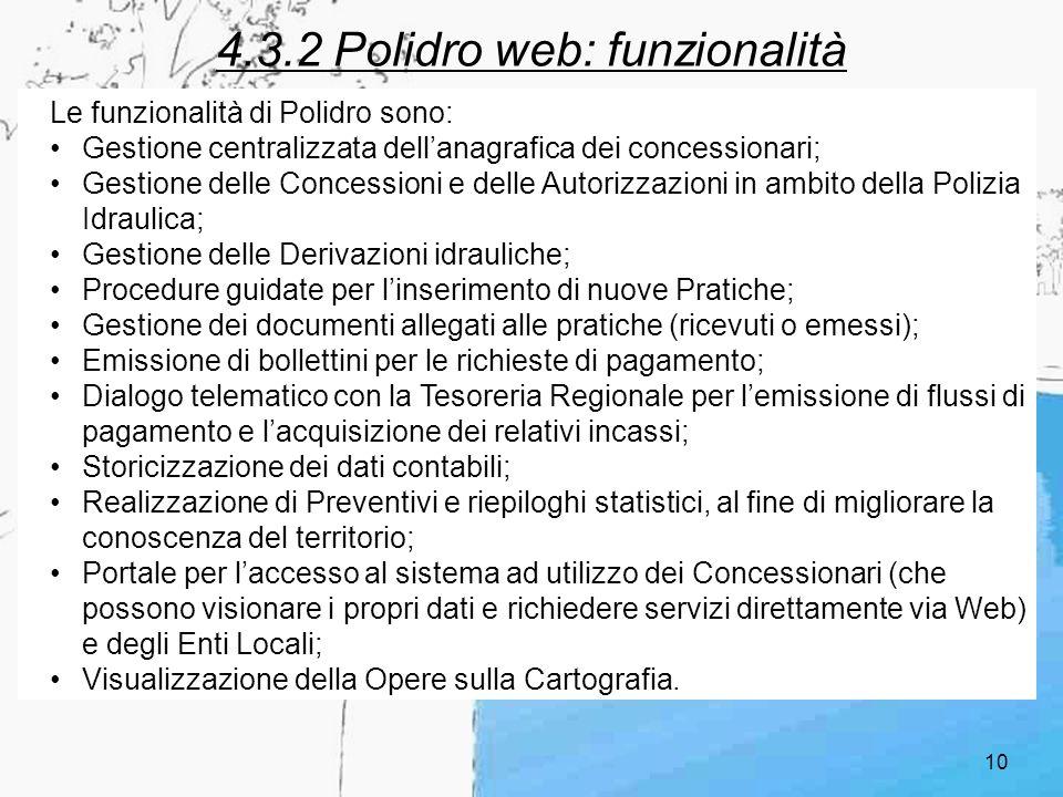 4.3.2 Polidro web: funzionalità