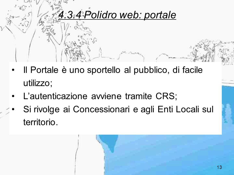 4.3.4 Polidro web: portale Il Portale è uno sportello al pubblico, di facile utilizzo; L'autenticazione avviene tramite CRS;
