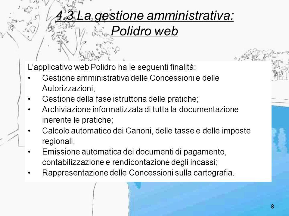 4.3 La gestione amministrativa: Polidro web