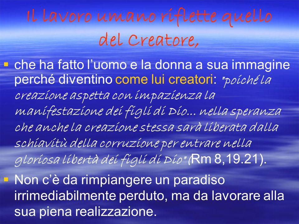 Il lavoro umano riflette quello del Creatore,
