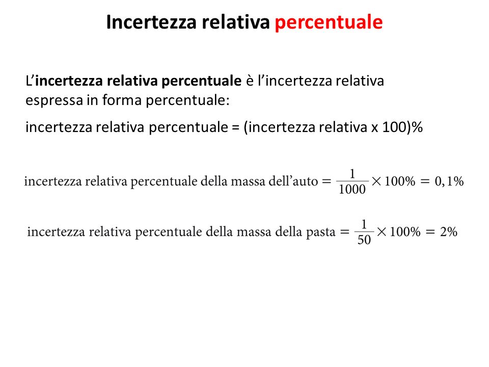Incertezza relativa percentuale