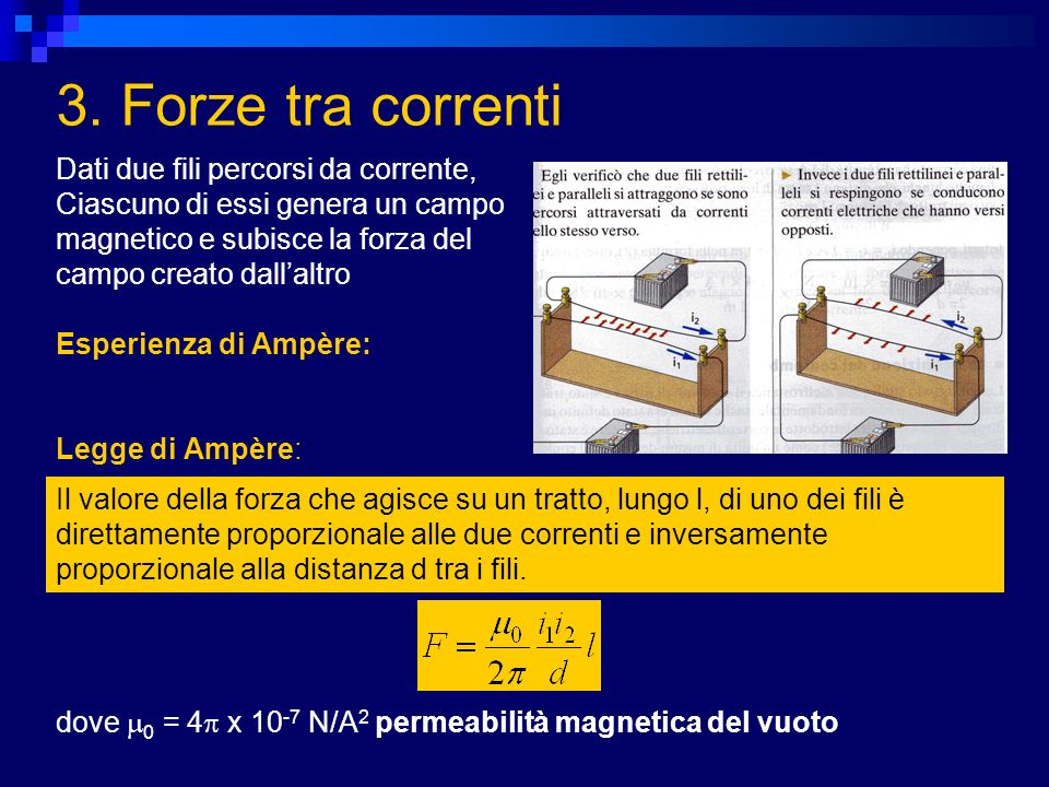 3. Forze tra correnti Dati due fili percorsi da corrente,