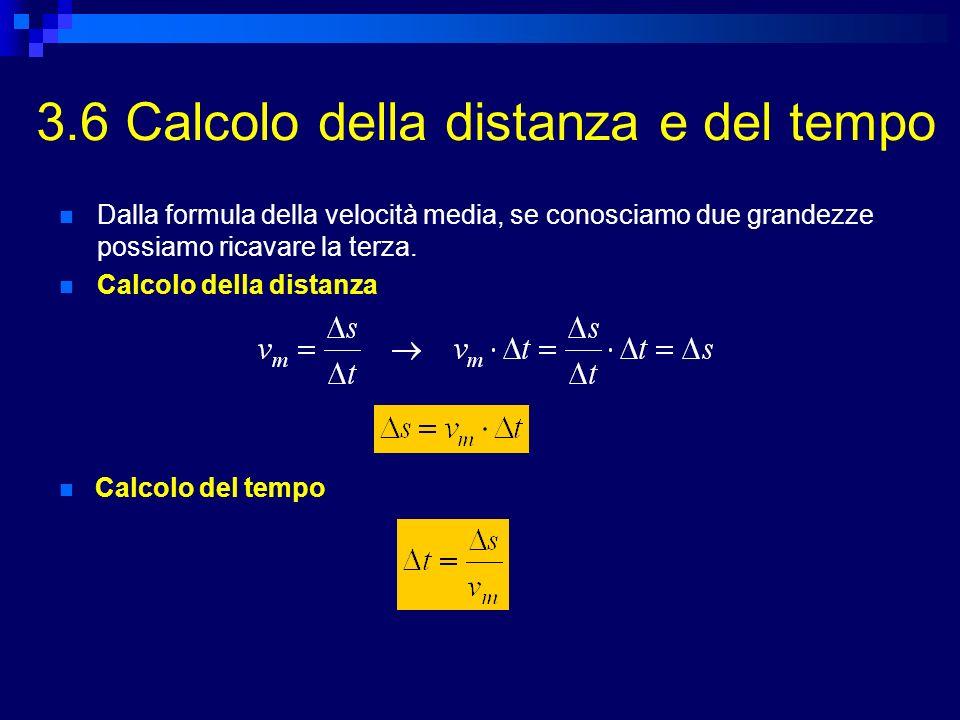 3.6 Calcolo della distanza e del tempo