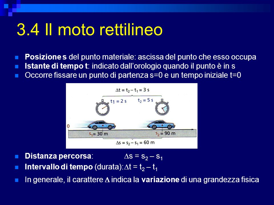 3.4 Il moto rettilineo Posizione s del punto materiale: ascissa del punto che esso occupa.