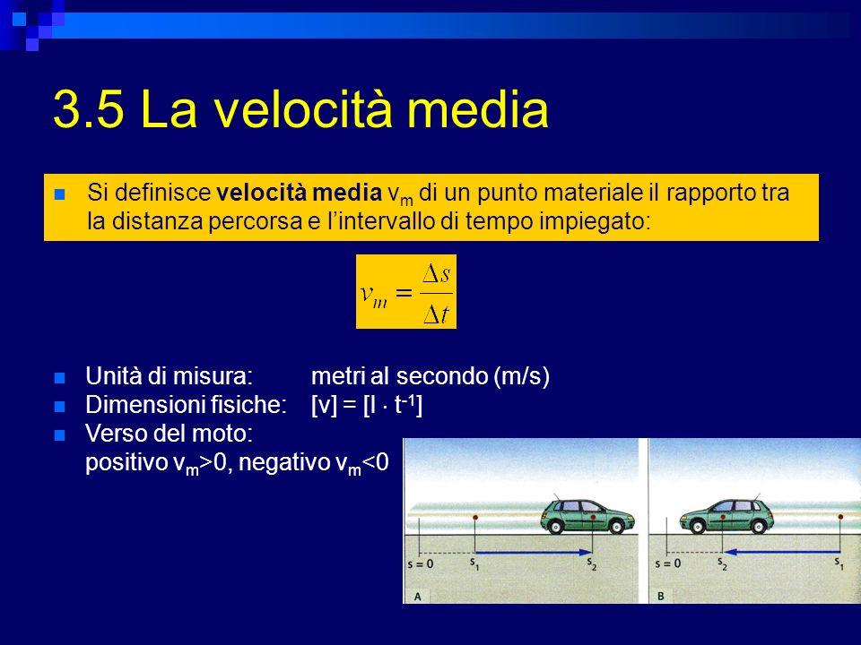 3.5 La velocità media Si definisce velocità media vm di un punto materiale il rapporto tra la distanza percorsa e l'intervallo di tempo impiegato:
