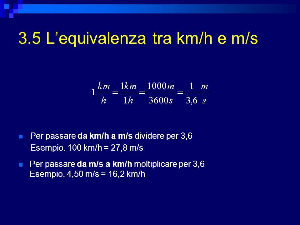 3.5 L'equivalenza tra km/h e m/s