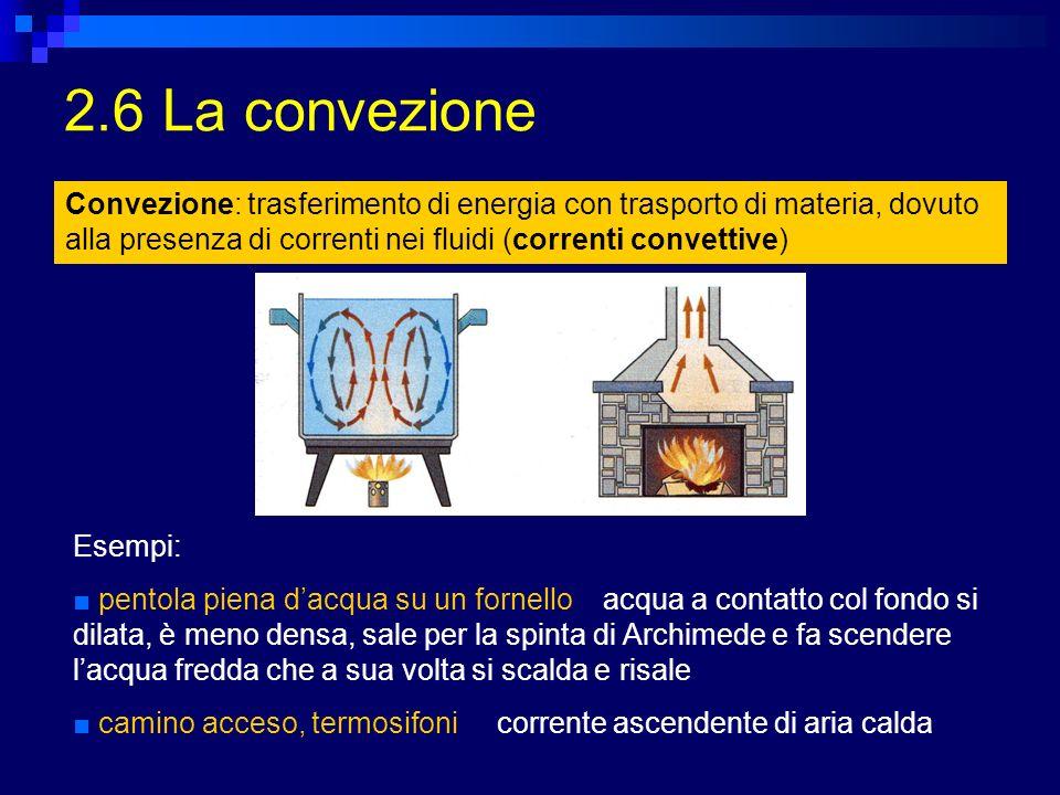 2.6 La convezione Convezione: trasferimento di energia con trasporto di materia, dovuto alla presenza di correnti nei fluidi (correnti convettive)