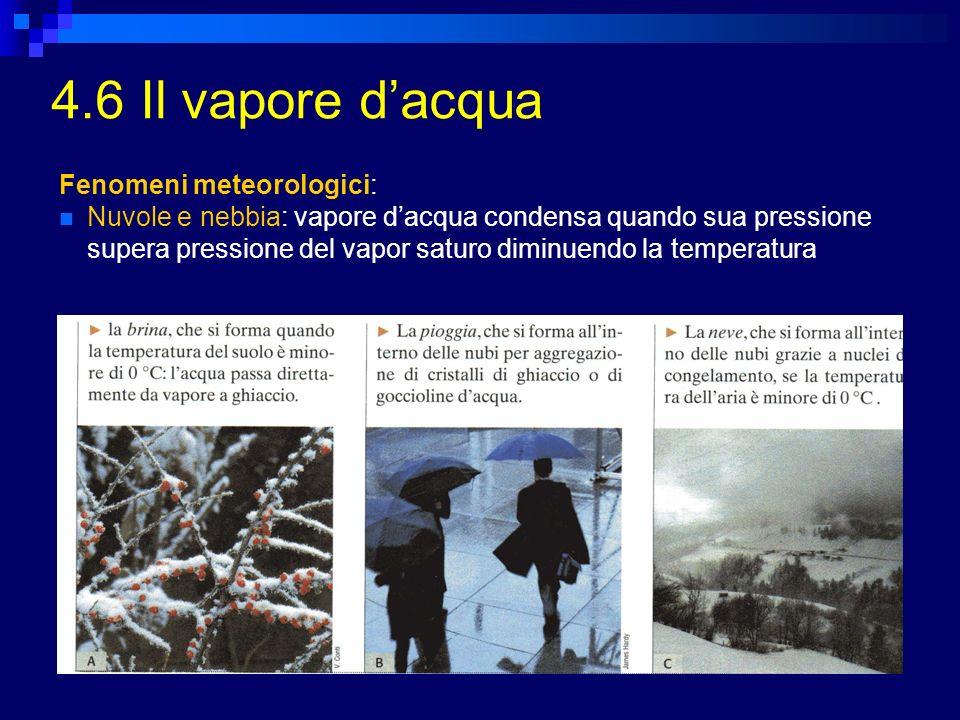 4.6 Il vapore d'acqua Fenomeni meteorologici: