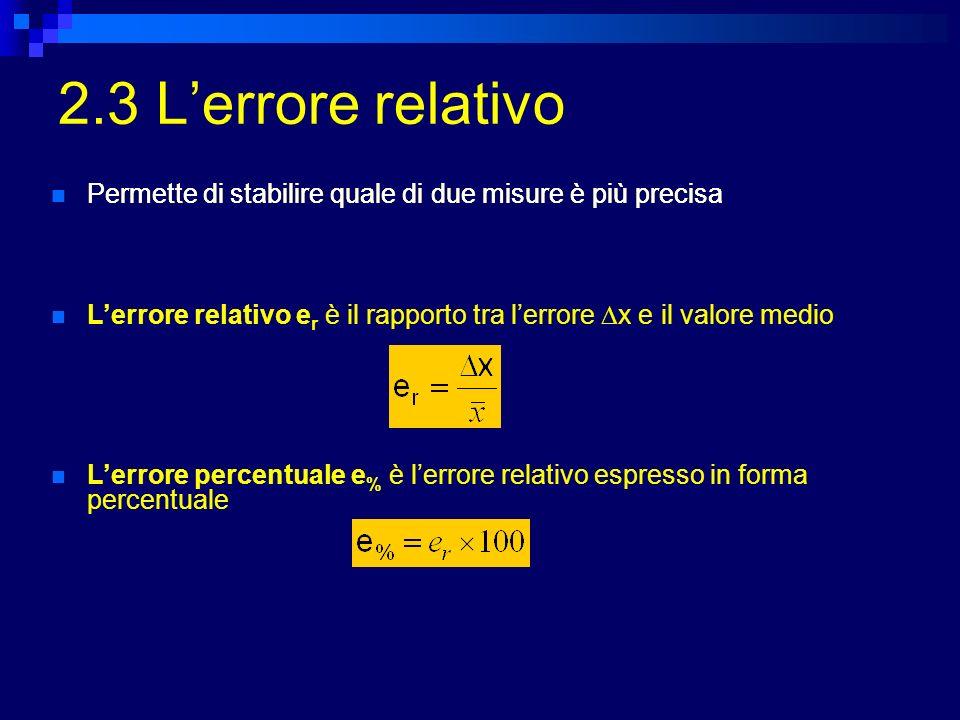 2.3 L'errore relativo Permette di stabilire quale di due misure è più precisa. Permette di stabilire quale di due misure è più precisa.